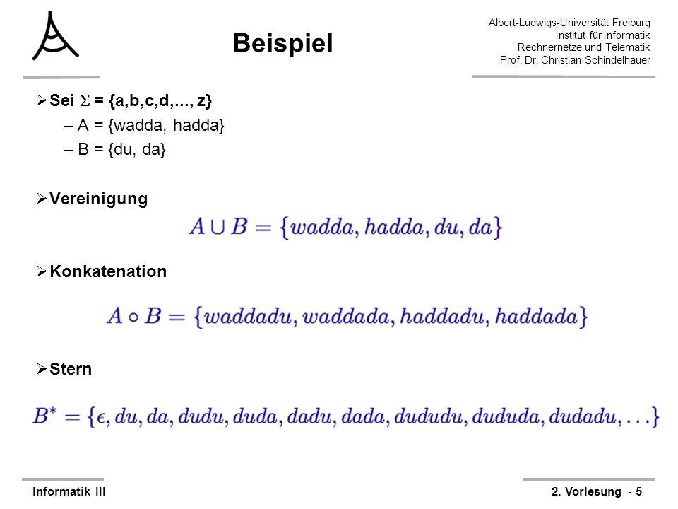 Beispiel Sei  = {a,b,c,d,..., z} A = {wadda, hadda} B = {du, da}