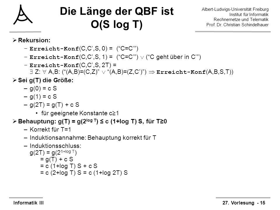 Die Länge der QBF ist O(S log T)