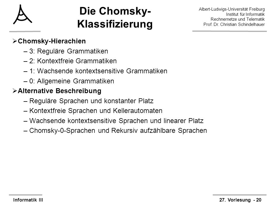 Die Chomsky-Klassifizierung
