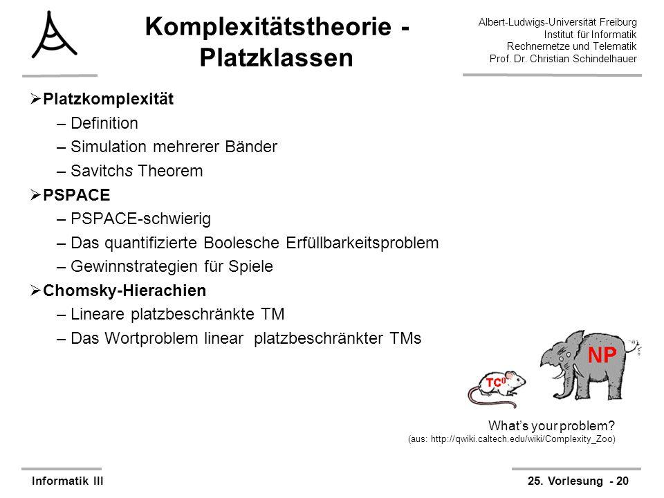 Komplexitätstheorie - Platzklassen