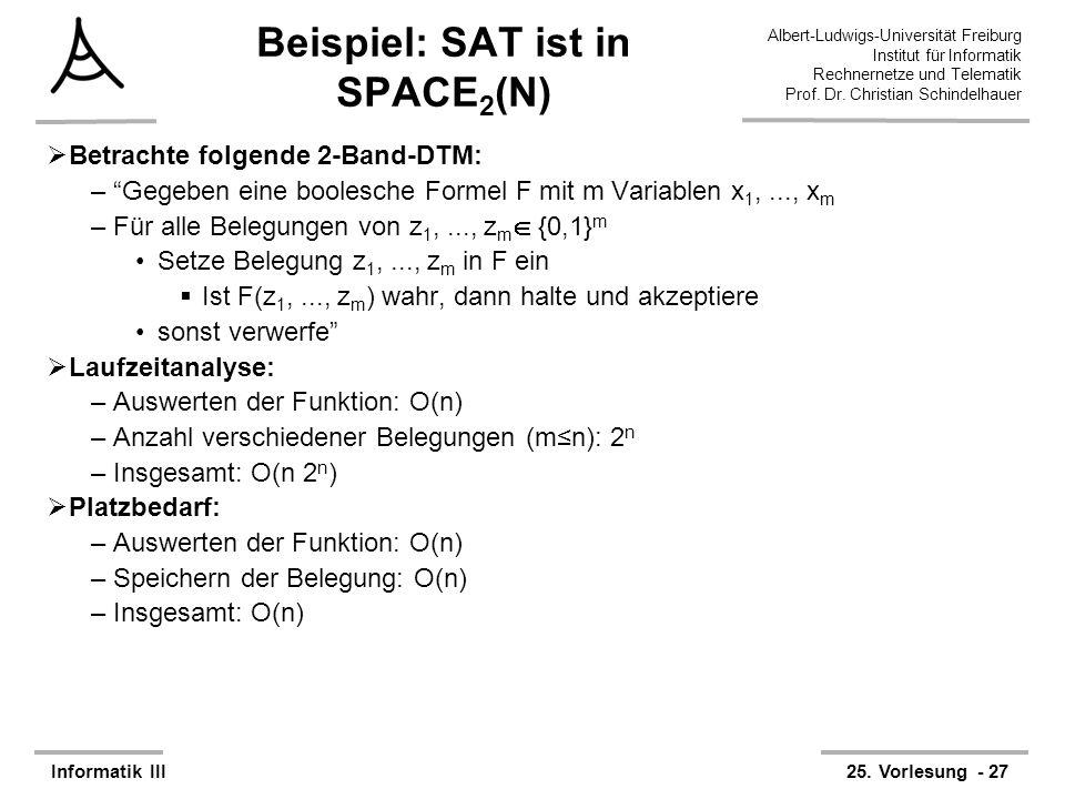 Beispiel: SAT ist in SPACE2(N)