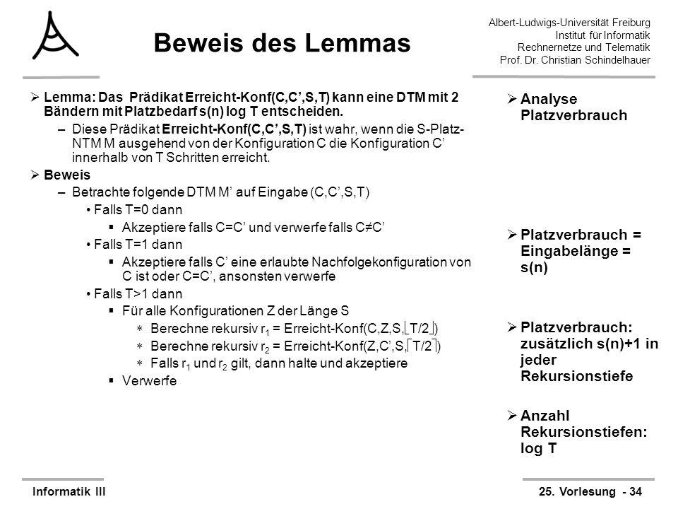 Beweis des Lemmas Analyse Platzverbrauch