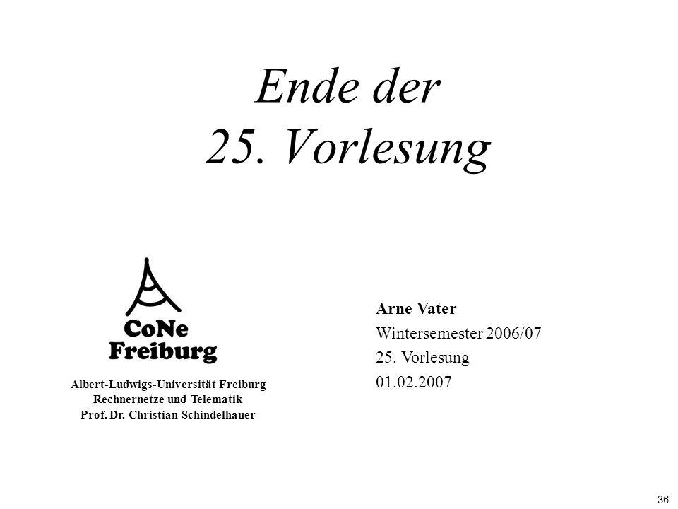 Ende der 25. Vorlesung Arne Vater Wintersemester 2006/07 25. Vorlesung