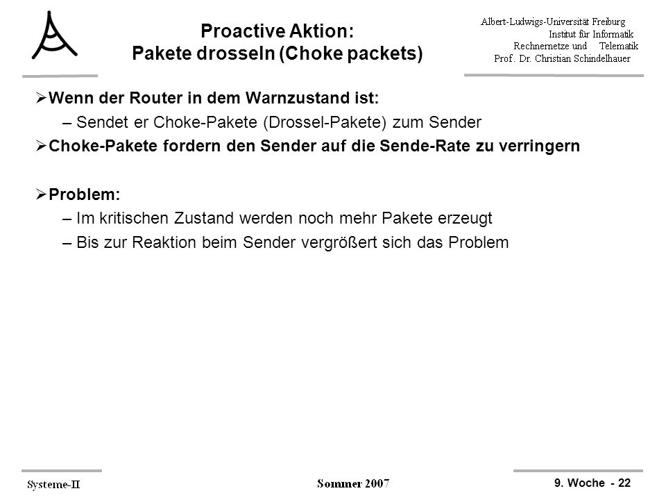 Proactive Aktion: Pakete drosseln (Choke packets)
