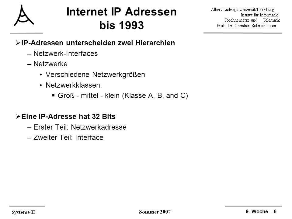 Internet IP Adressen bis 1993