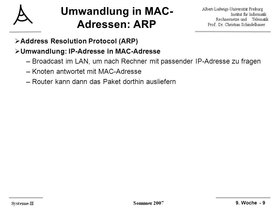 Umwandlung in MAC-Adressen: ARP