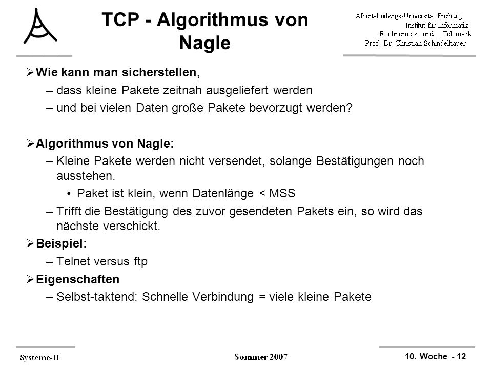 TCP - Algorithmus von Nagle