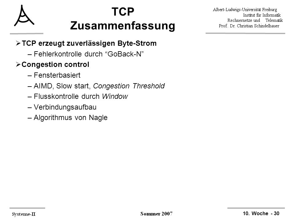 TCP Zusammenfassung TCP erzeugt zuverlässigen Byte-Strom