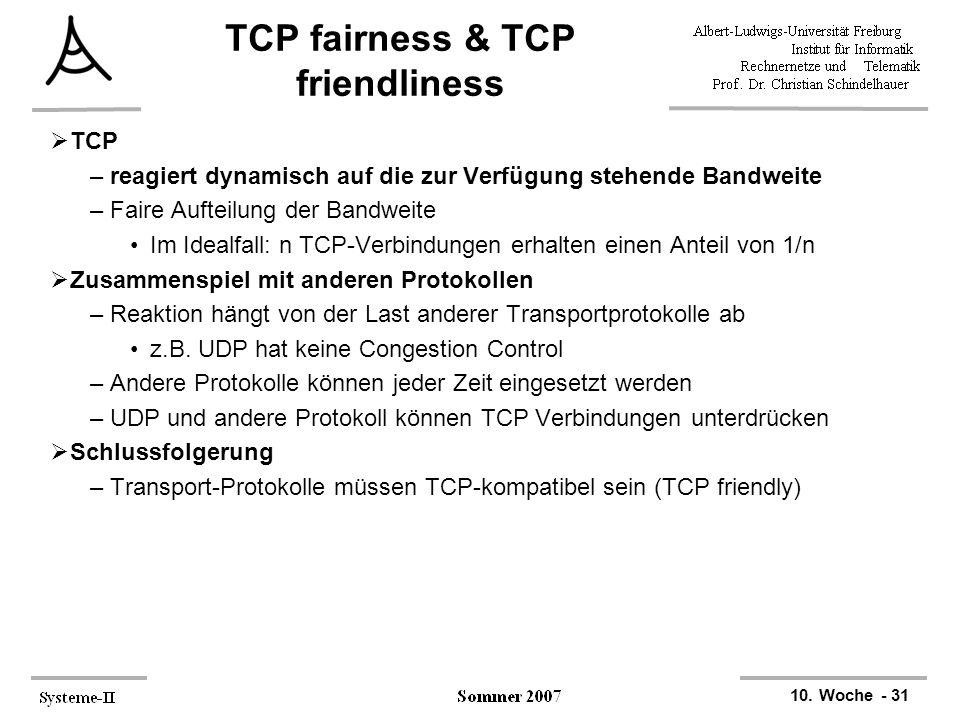 TCP fairness & TCP friendliness