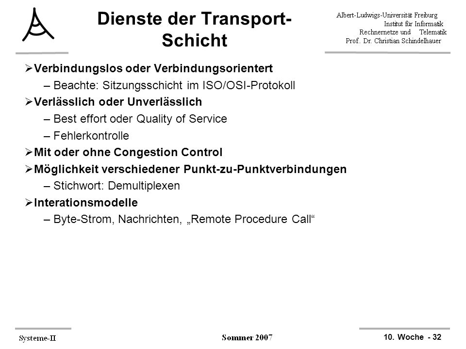 Dienste der Transport-Schicht