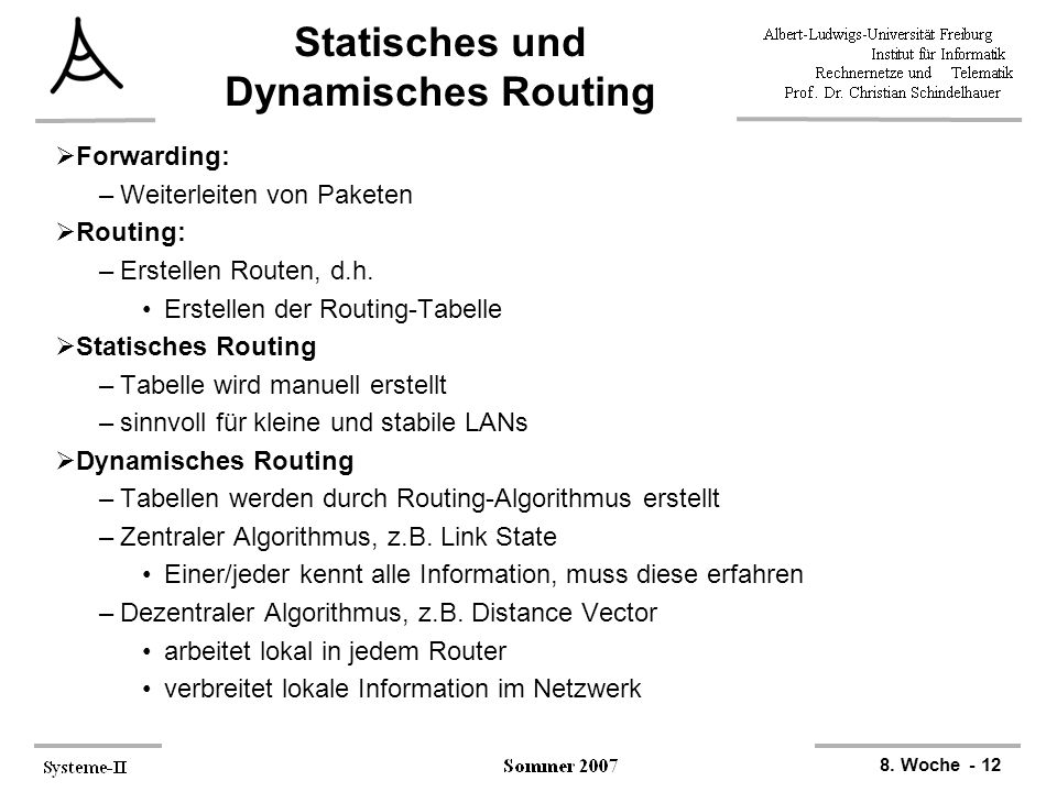 Statisches und Dynamisches Routing