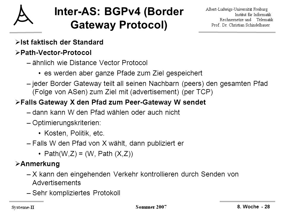 Inter-AS: BGPv4 (Border Gateway Protocol)