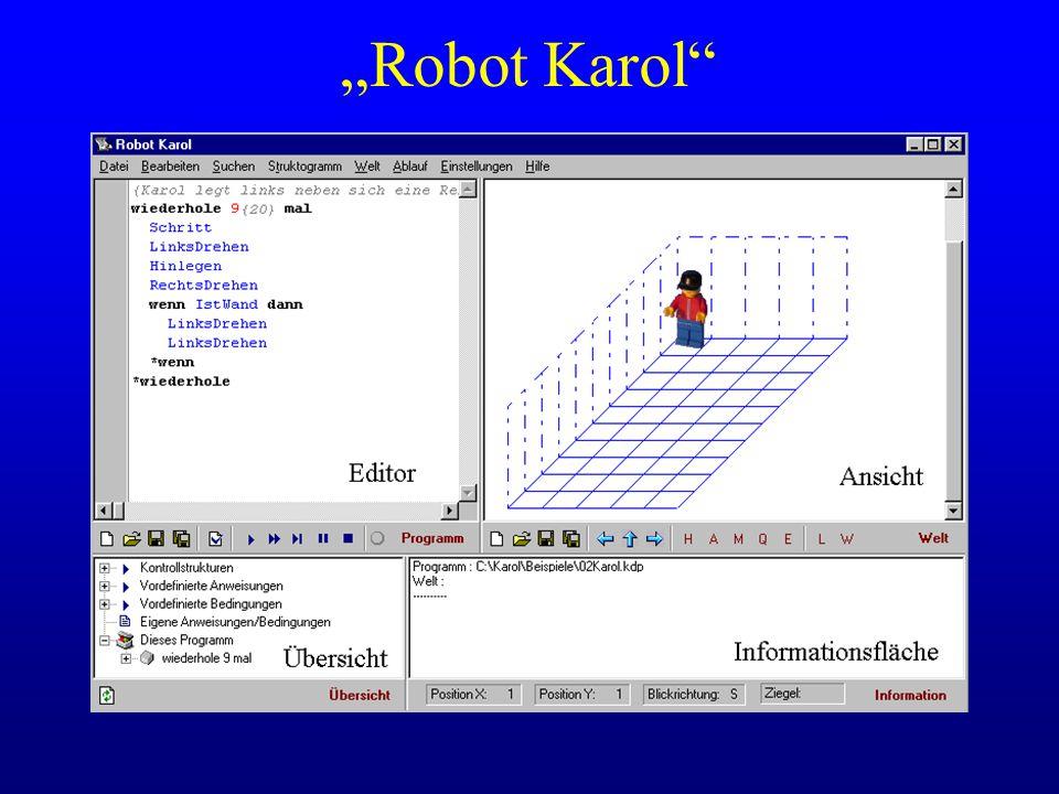 """""""Robot Karol Einteilung der Programmierumgebung erläutern - Programm, Welt, Übersicht, Information."""