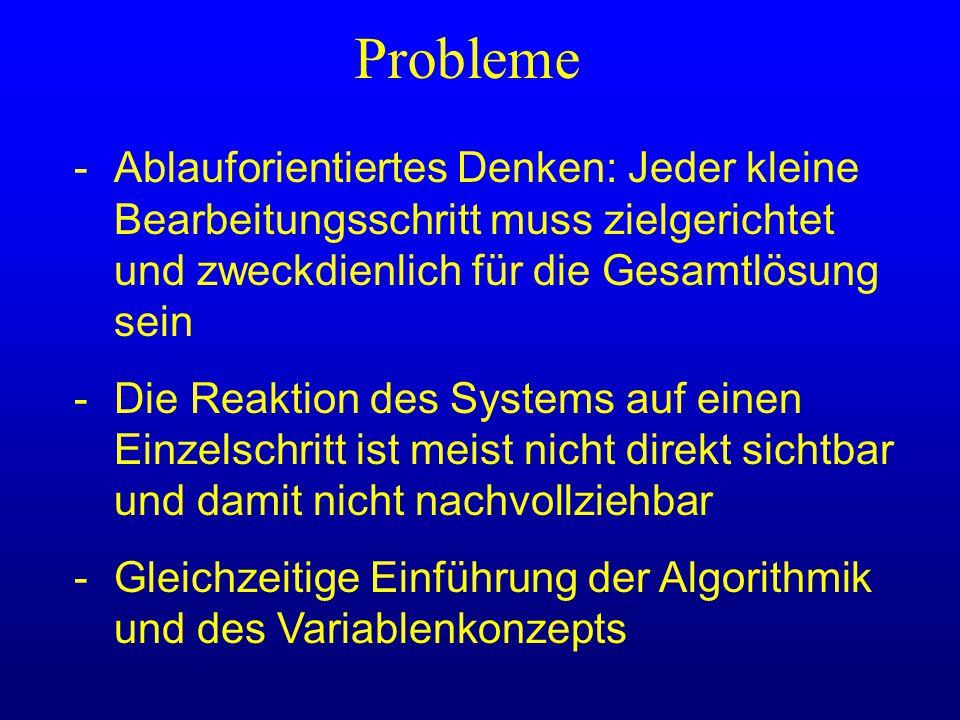 Probleme - Ablauforientiertes Denken: Jeder kleine Bearbeitungsschritt muss zielgerichtet und zweckdienlich für die Gesamtlösung sein.