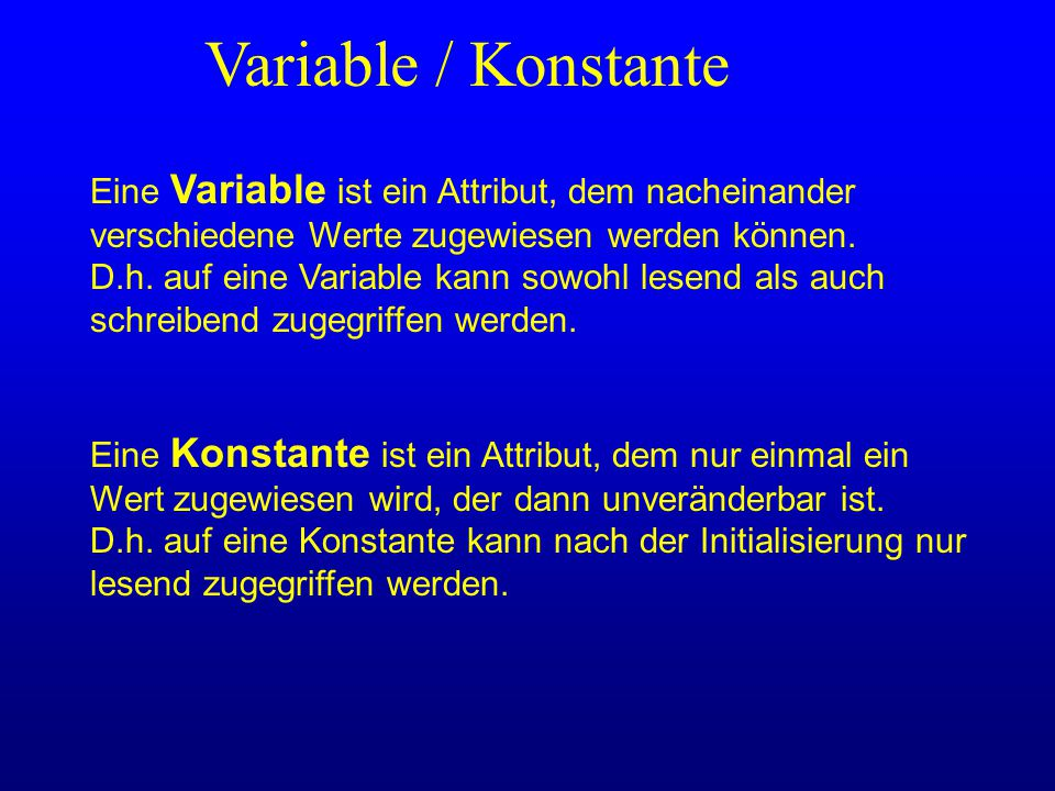 Variable / Konstante