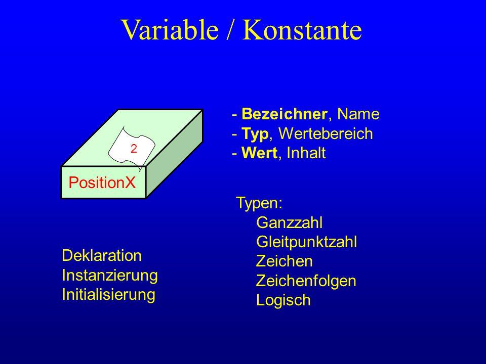 Variable / Konstante - Bezeichner, Name - Typ, Wertebereich