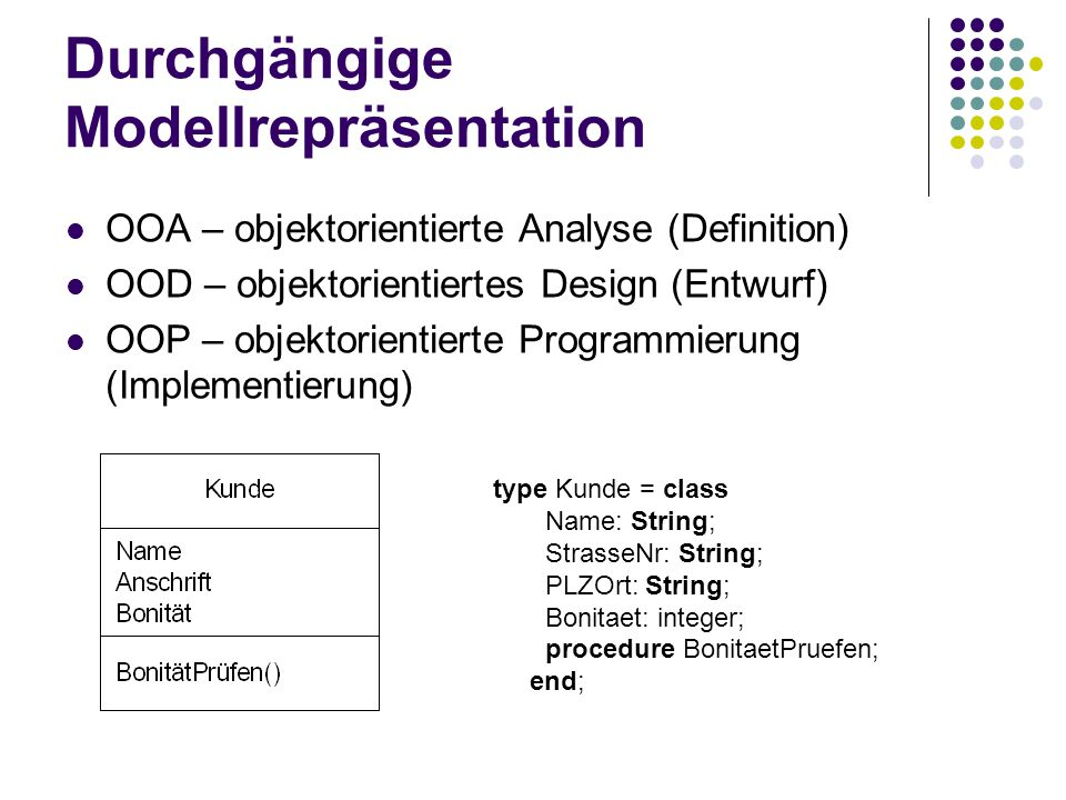 Durchgängige Modellrepräsentation