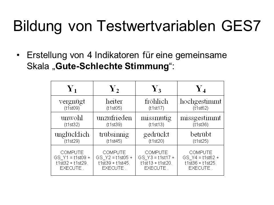 Bildung von Testwertvariablen GES7
