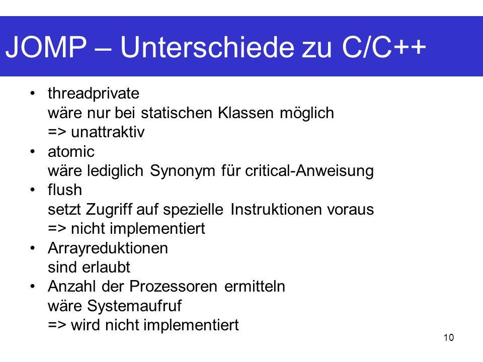 JOMP – Unterschiede zu C/C++