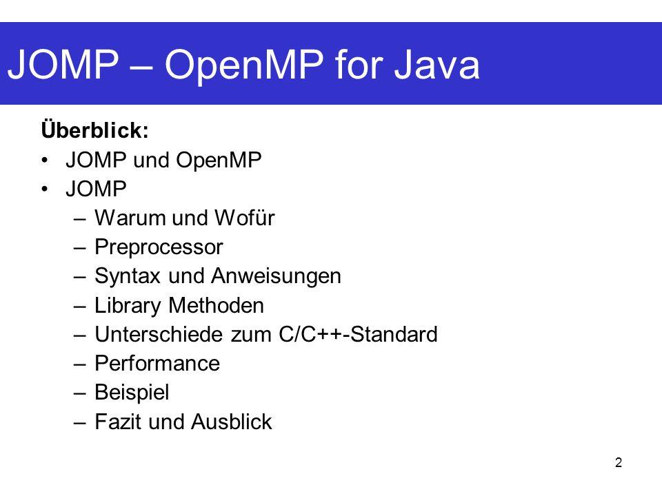 JOMP – OpenMP for Java Überblick: JOMP und OpenMP JOMP Warum und Wofür