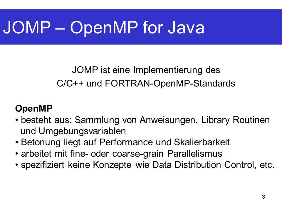 JOMP – OpenMP for Java JOMP ist eine Implementierung des