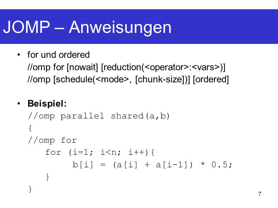 JOMP – Anweisungen for und ordered