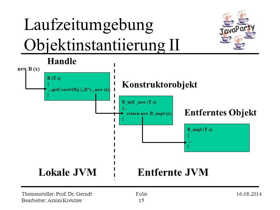 Laufzeitumgebung Objektinstantiierung II