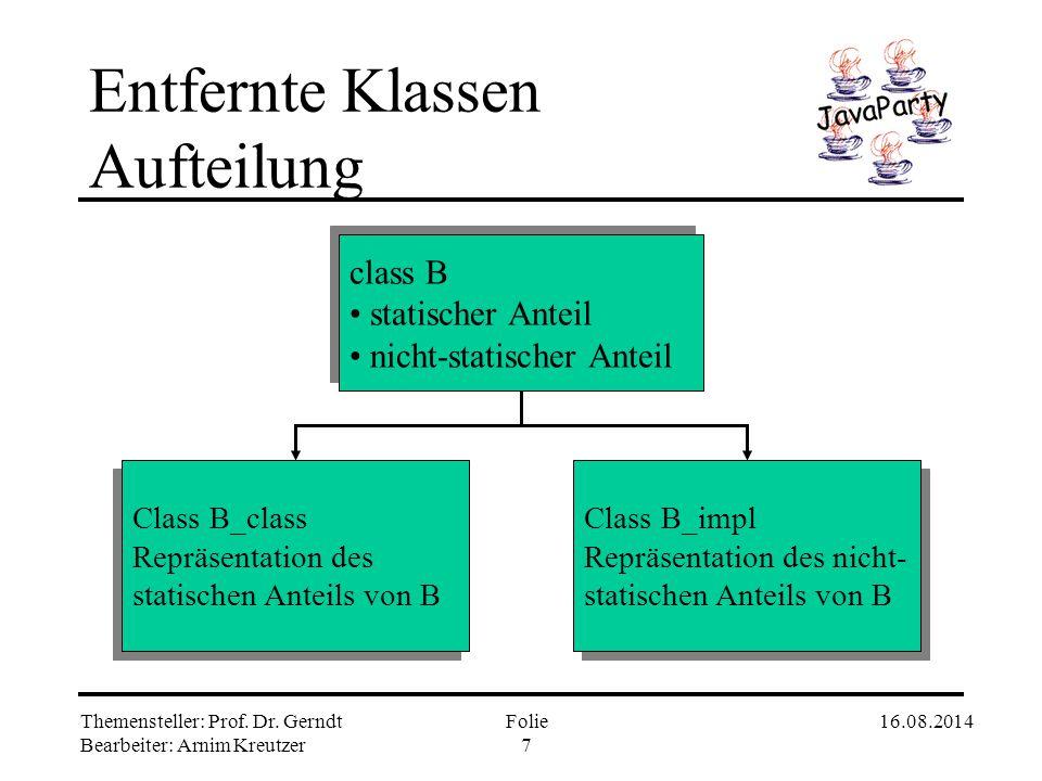 Entfernte Klassen Aufteilung