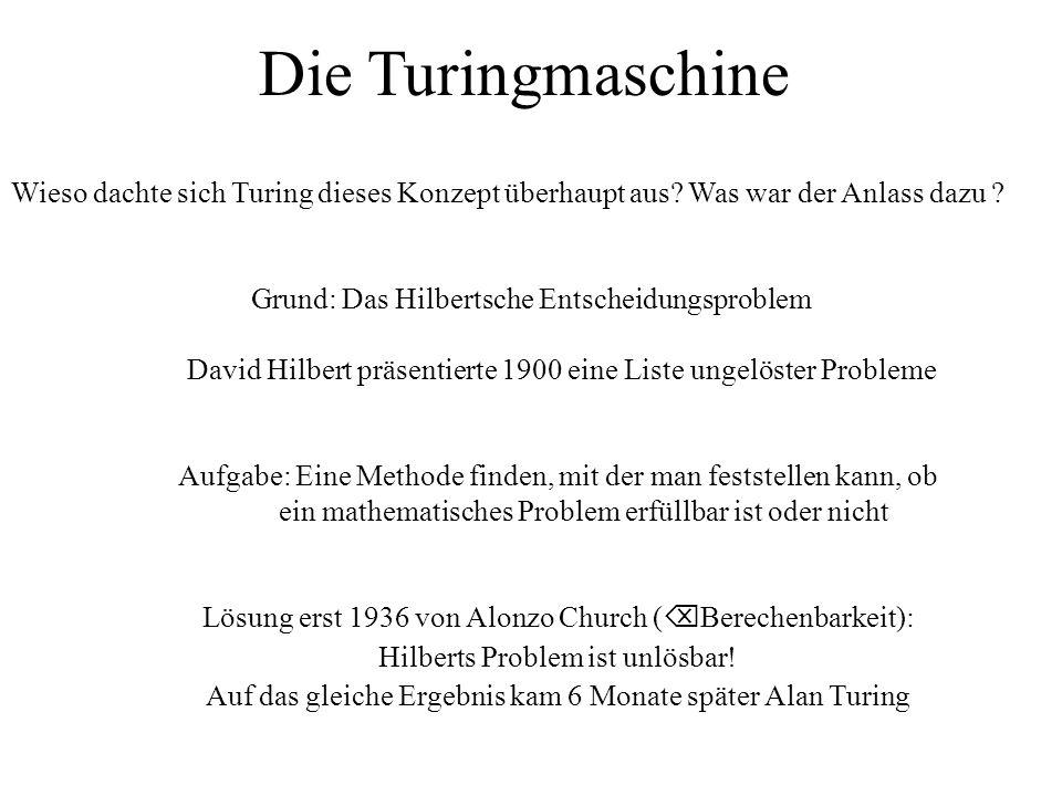 Die Turingmaschine Wieso dachte sich Turing dieses Konzept überhaupt aus Was war der Anlass dazu