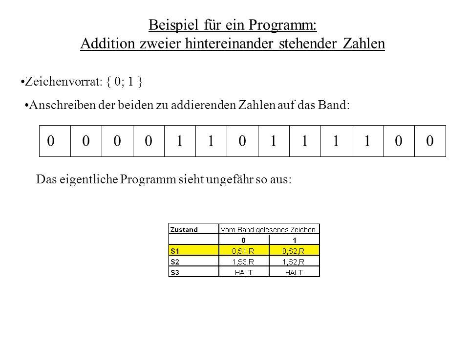 Beispiel für ein Programm: Addition zweier hintereinander stehender Zahlen
