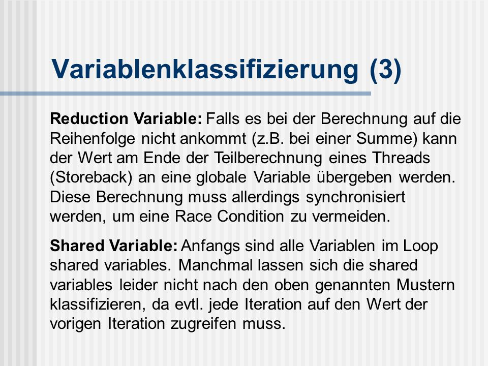 Variablenklassifizierung (3)