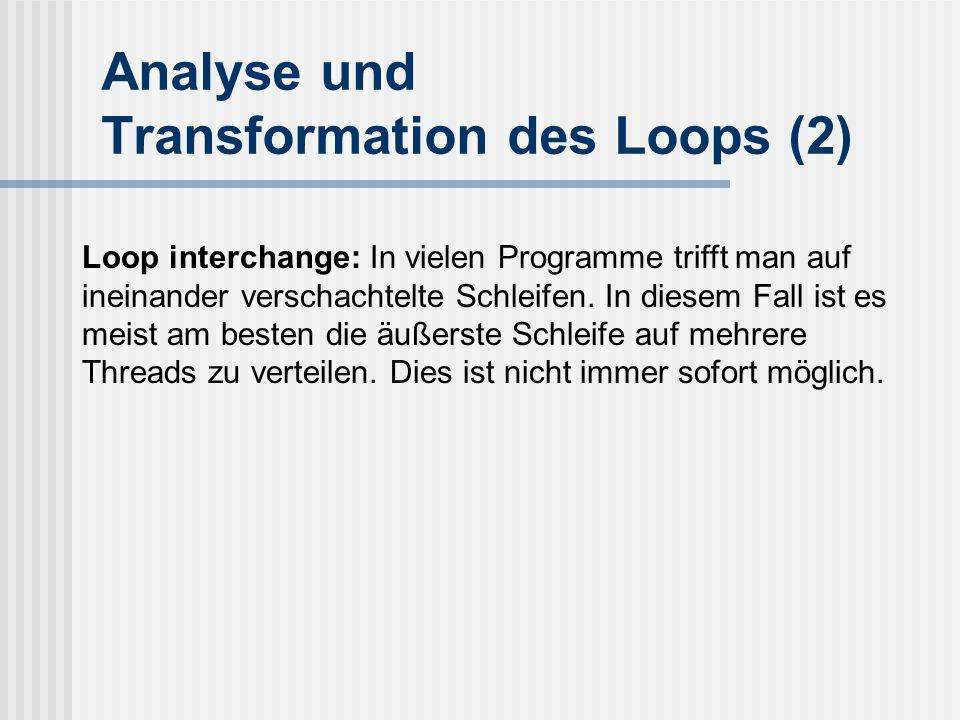 Analyse und Transformation des Loops (2)