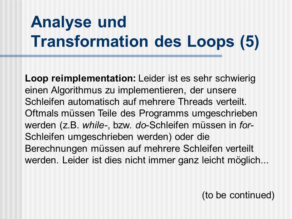 Analyse und Transformation des Loops (5)