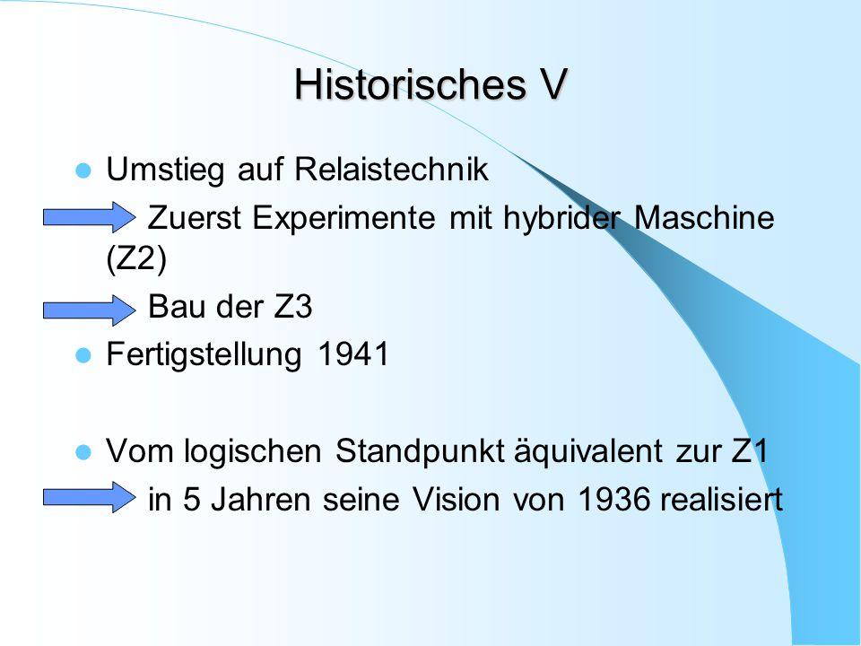 Historisches V Umstieg auf Relaistechnik