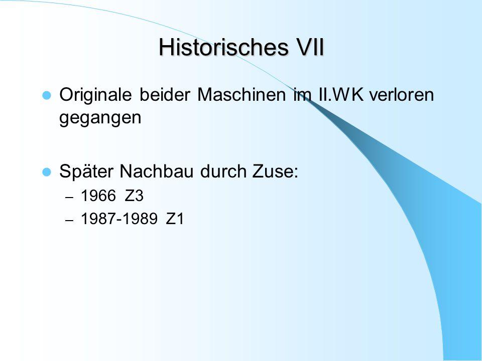 Historisches VII Originale beider Maschinen im II.WK verloren gegangen
