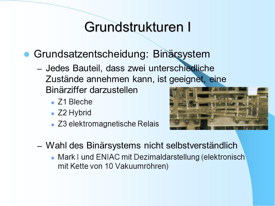 Grundstrukturen I Grundsatzentscheidung: Binärsystem