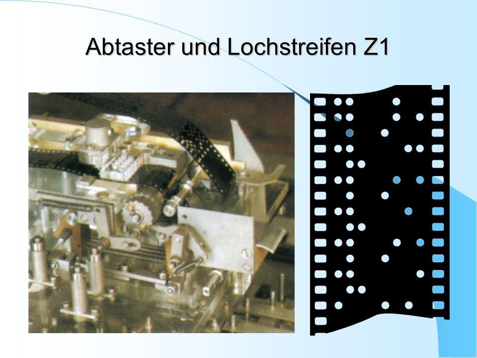 Abtaster und Lochstreifen Z1