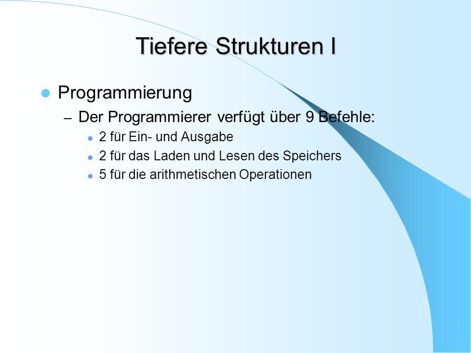 Tiefere Strukturen I Programmierung