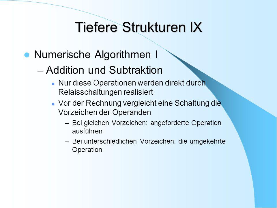 Tiefere Strukturen IX Numerische Algorithmen I