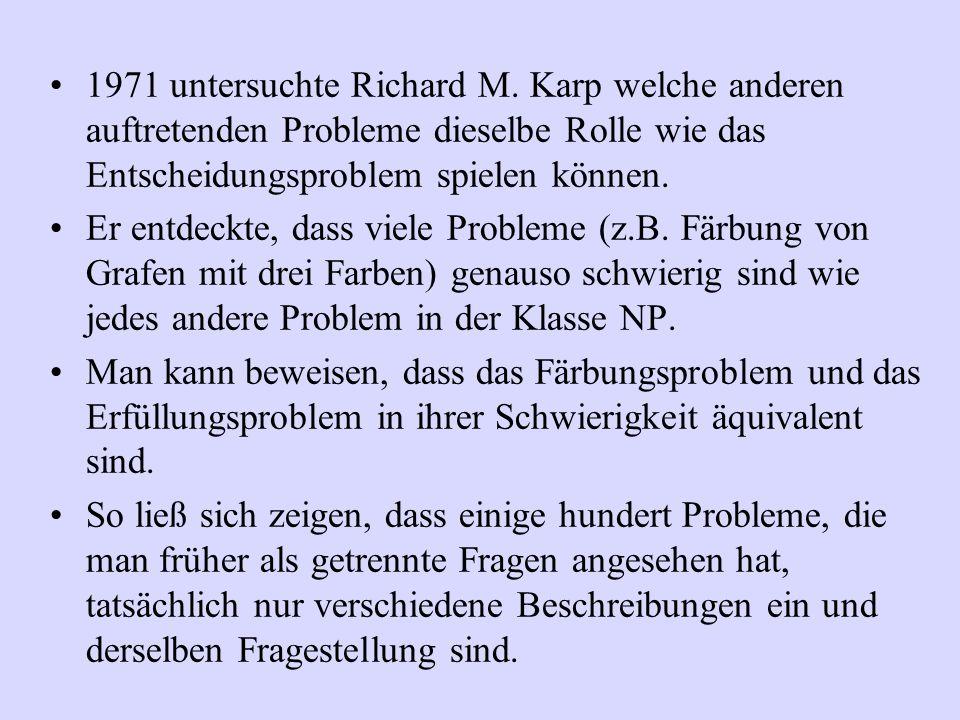 1971 untersuchte Richard M. Karp welche anderen auftretenden Probleme dieselbe Rolle wie das Entscheidungsproblem spielen können.