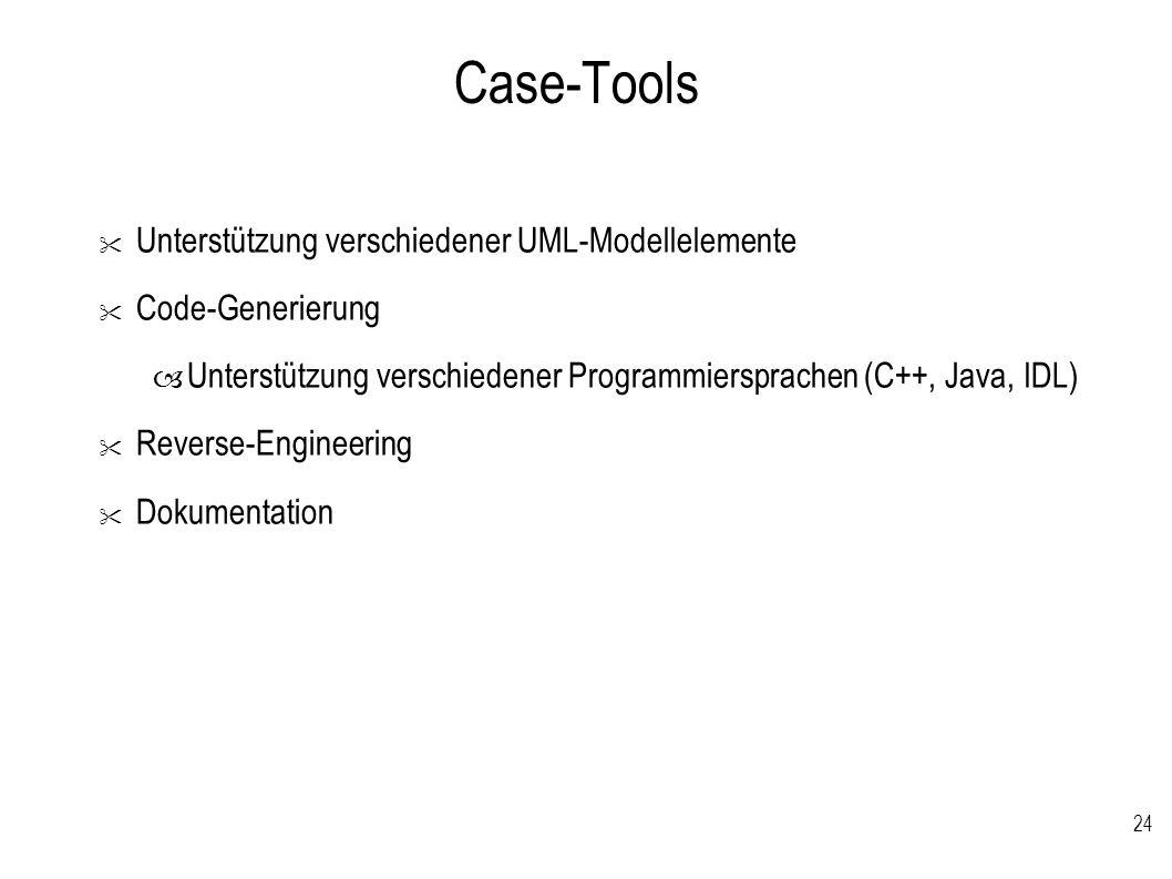 Case-Tools Unterstützung verschiedener UML-Modellelemente