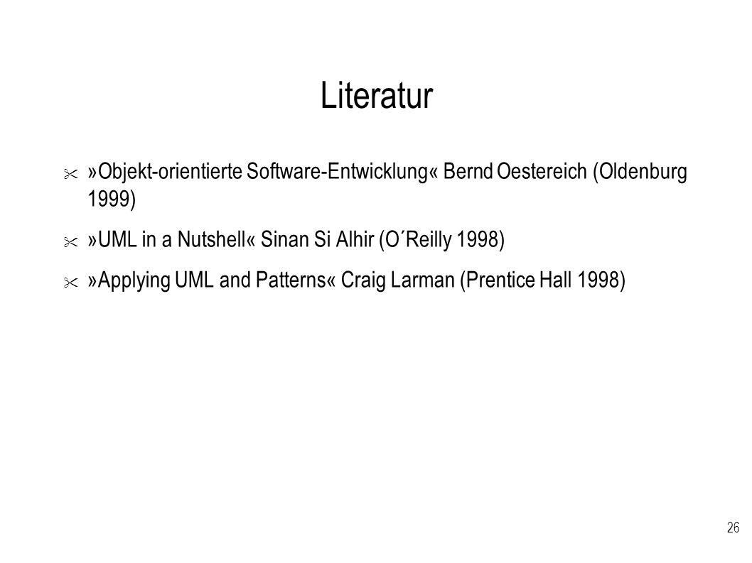 Literatur »Objekt-orientierte Software-Entwicklung« Bernd Oestereich (Oldenburg 1999) »UML in a Nutshell« Sinan Si Alhir (O´Reilly 1998)