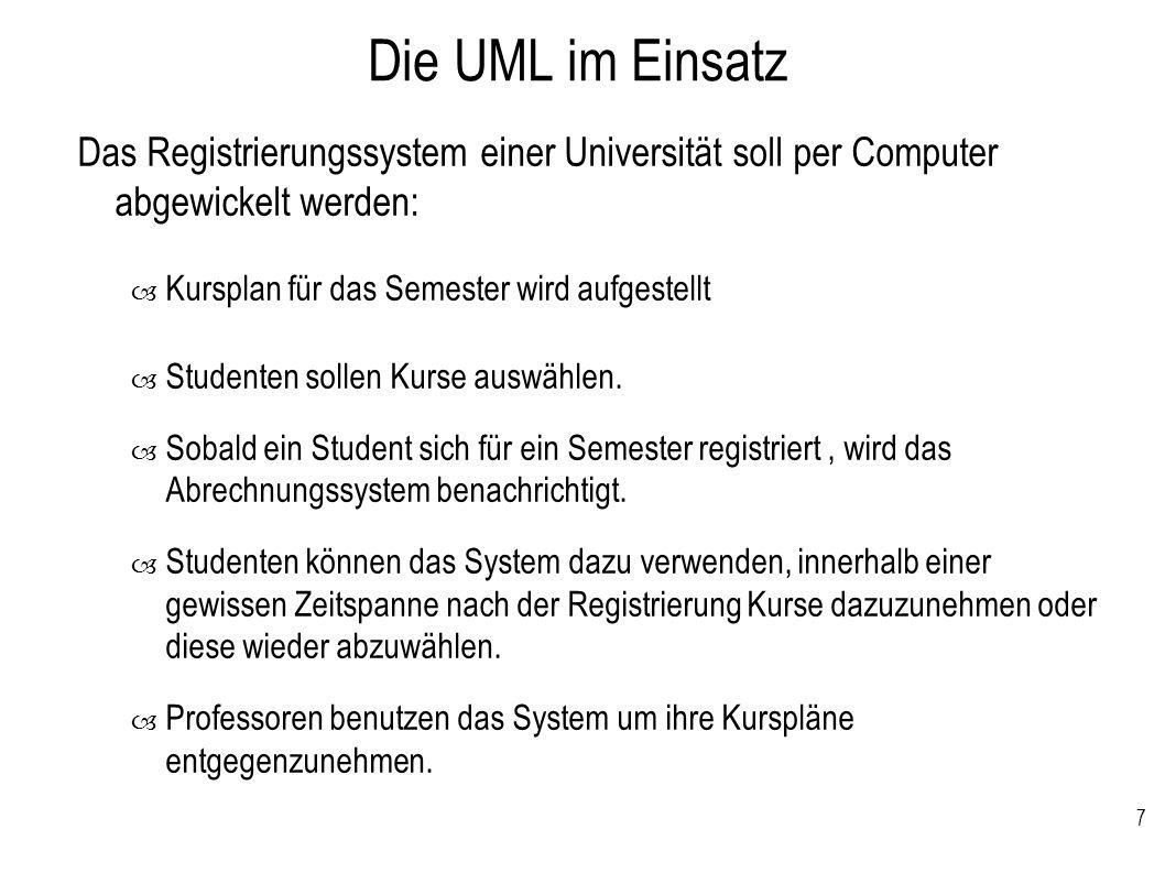Die UML im Einsatz Das Registrierungssystem einer Universität soll per Computer abgewickelt werden: