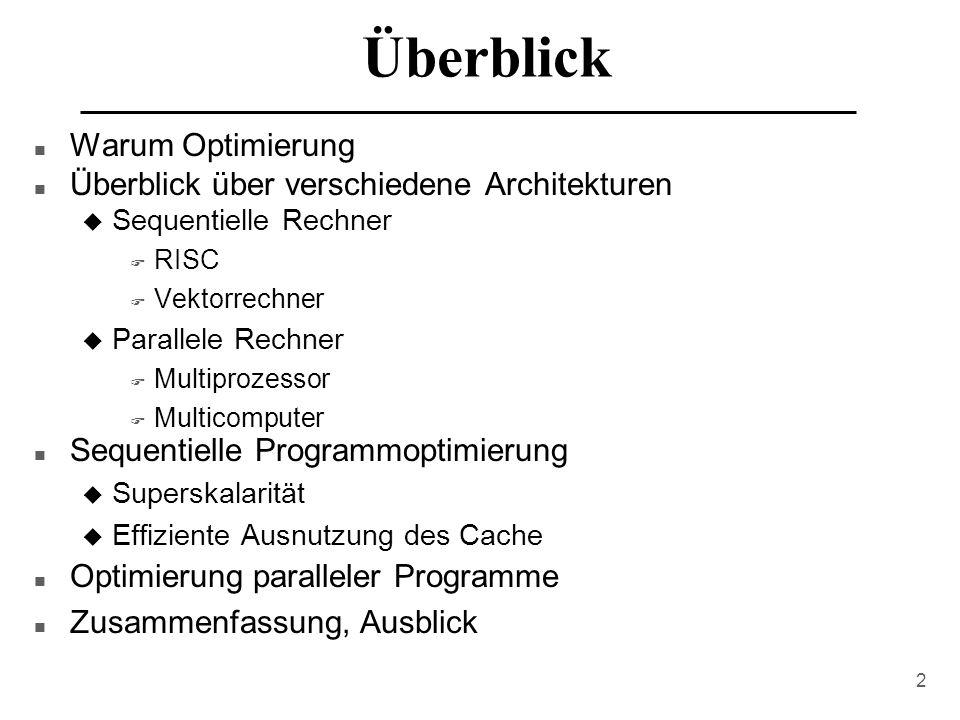 Überblick Warum Optimierung Überblick über verschiedene Architekturen