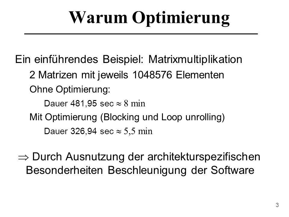 Warum Optimierung Ein einführendes Beispiel: Matrixmultiplikation