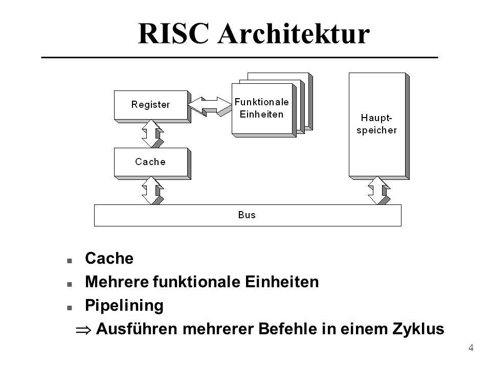 RISC Architektur Cache Mehrere funktionale Einheiten Pipelining