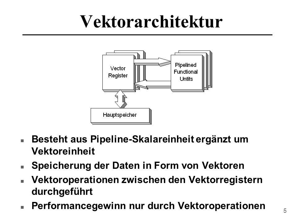 Vektorarchitektur Besteht aus Pipeline-Skalareinheit ergänzt um Vektoreinheit. Speicherung der Daten in Form von Vektoren.
