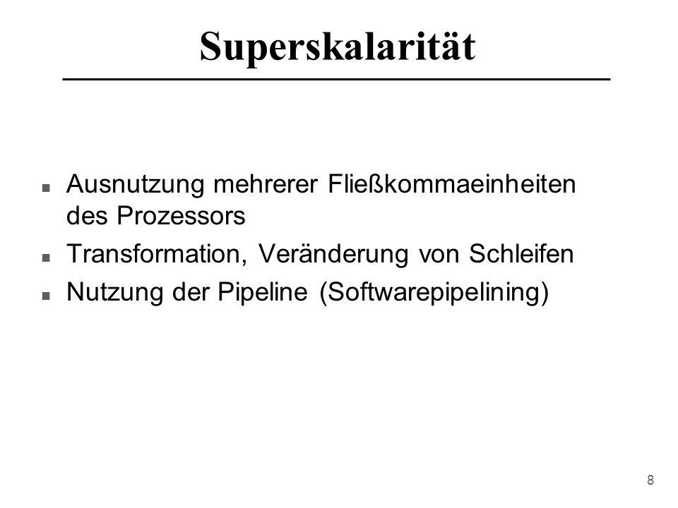 Superskalarität Ausnutzung mehrerer Fließkommaeinheiten des Prozessors