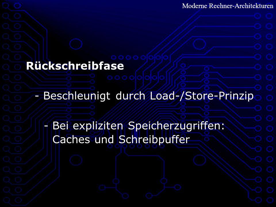 - Beschleunigt durch Load-/Store-Prinzip