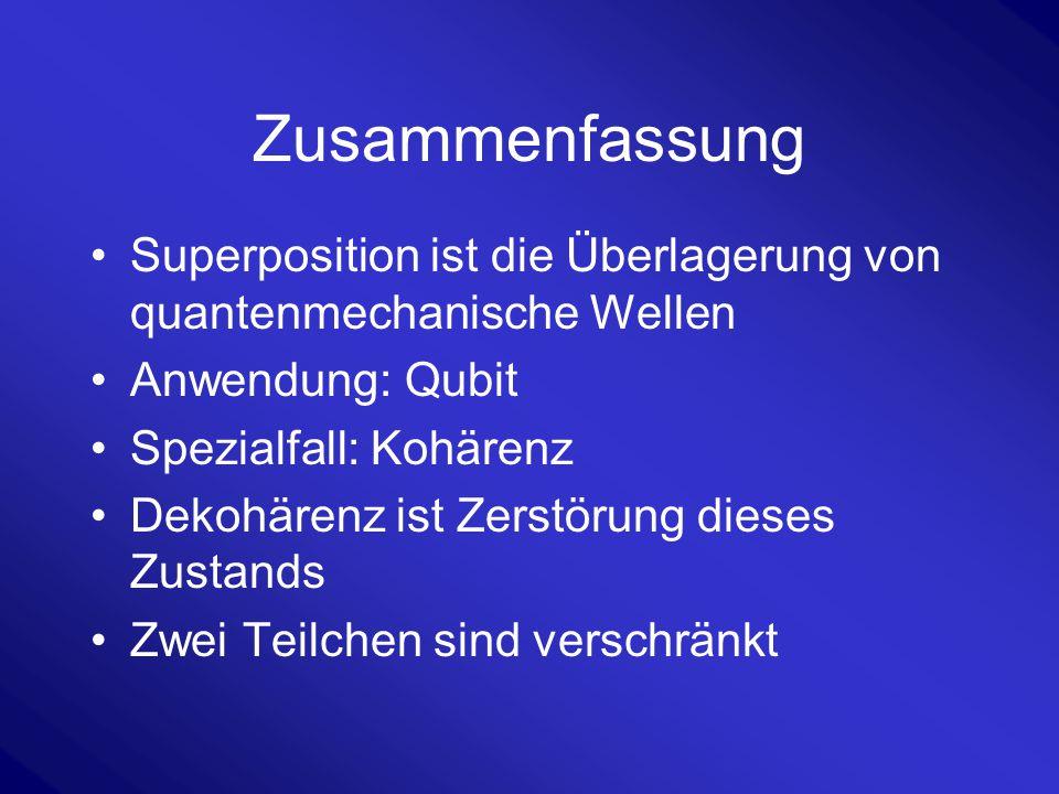Zusammenfassung Superposition ist die Überlagerung von quantenmechanische Wellen. Anwendung: Qubit.